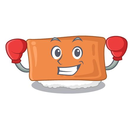 Boxing inari sushi is served character plate vector illustration Çizim