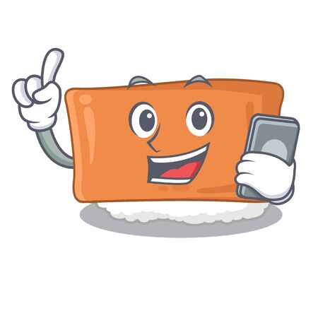 With phone inari sushi is served character plate vector illustration