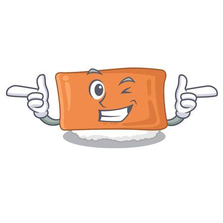 Wink inari sushi in the cartoon shape vector illustration