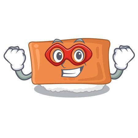 Super hero inari sushi in the cartoon shape vector illustration