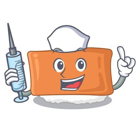 Nurse inari sushi in the cartoon shape vector illustration Illustration