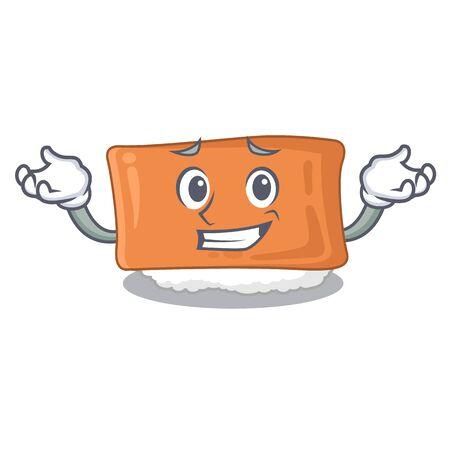 Grinning inari sushi in the cartoon shape vector illustration