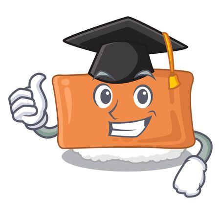 Graduation inari sushi in the cartoon shape vector illustration