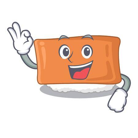 Okay inari sushi in the cartoon shape vector illustration Illustration