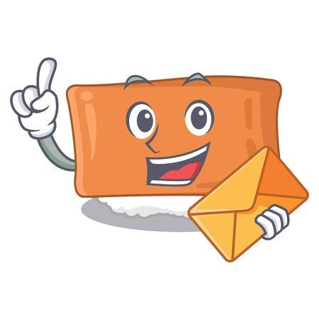 With envelope inari sushi in the cartoon shape vector illustration Ilustração