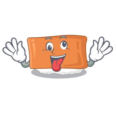 Crazy inari sushi isolated with the mascot vector illustration