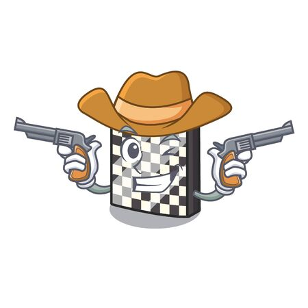 Cowboy chessboard with in the a mascot vector illustration