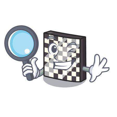Detective chessboard in the a cartoon shape vector illustration Çizim