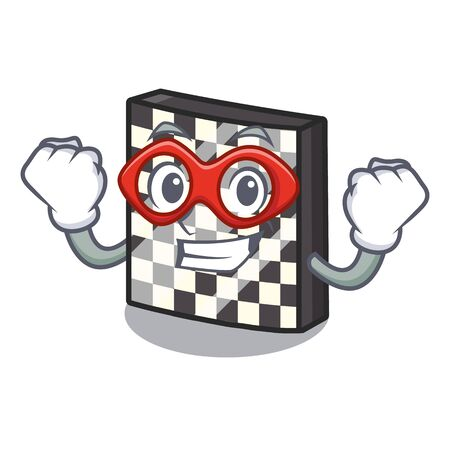 Super hero chessboard in the a cartoon shape vector illustration Çizim