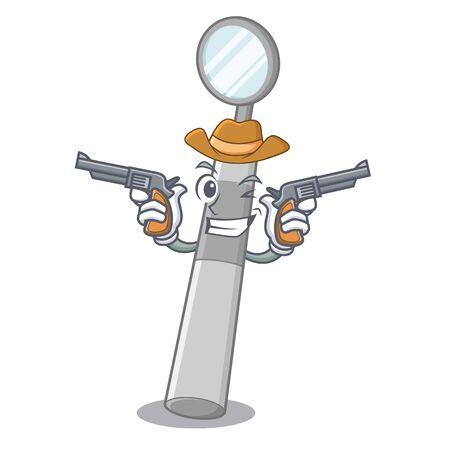 Cowboy dental mirror in the mascot shape vector illustration Standard-Bild - 124699971