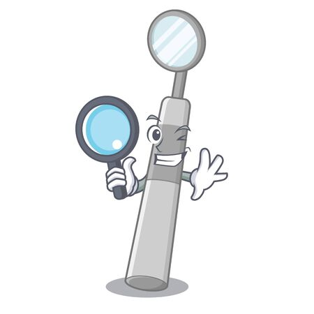 Detective dental mirror in box cartoon medicine vector illustration Standard-Bild - 124699972