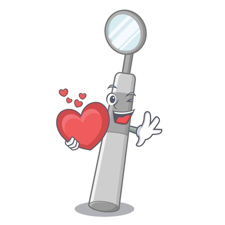 With heart dental mirror isolated in the character vector illustration Иллюстрация