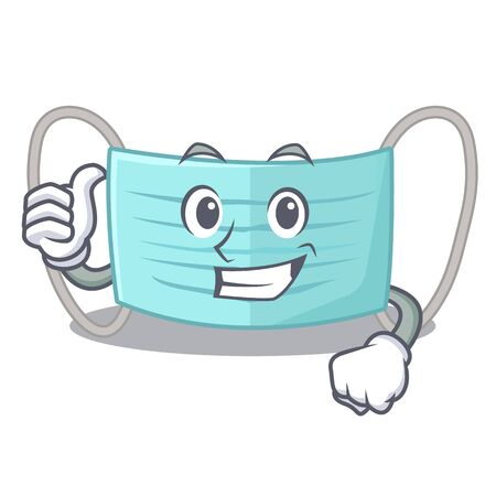 Thumbs up surgical mask in the character shape vector illustration Illustration