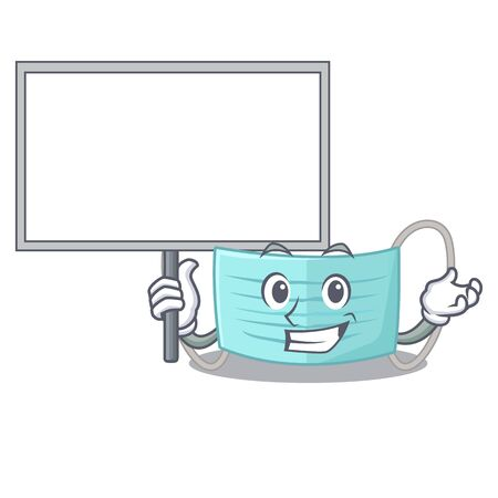 Bring board surgical mask isolated with the mascot vector illustration