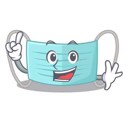 Finger surgical mask in a cartoon wallet vector illustration