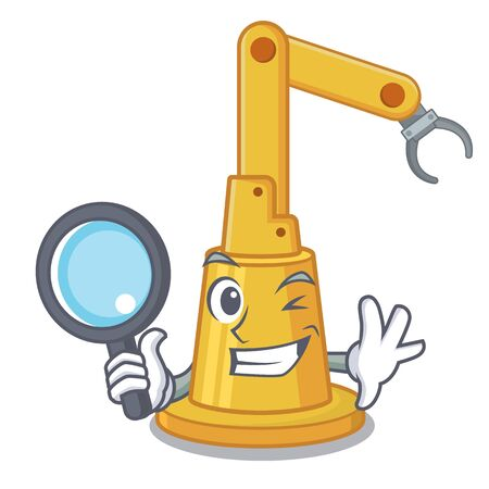 Detective assembly automation machine the cartoon shape vector illustration
