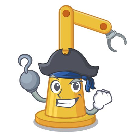 Pirate assembly automation machine isolated the mascot vector illustration