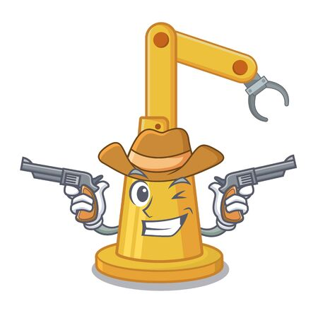 Cowboy assembly automation machine isolated the mascot vector illustration