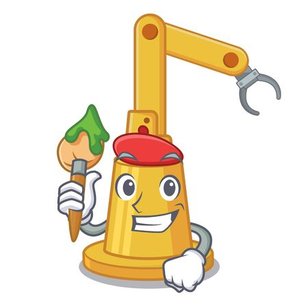 Artist assembly automation machine isolated the mascot vector illustration
