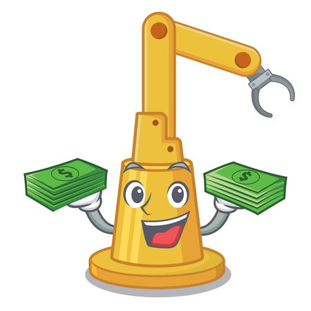 With money bag assembly automation machine in character table vector illustration  イラスト・ベクター素材