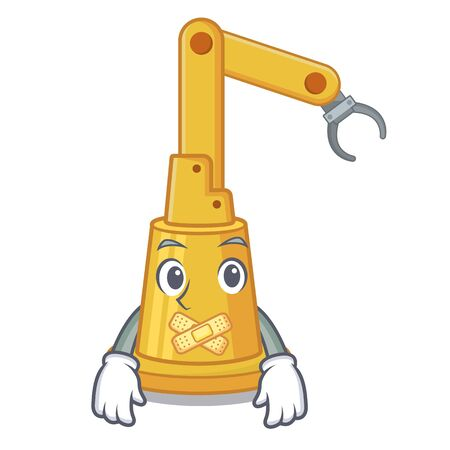 Silent toy assembly automation machine on cartoon vector illustration