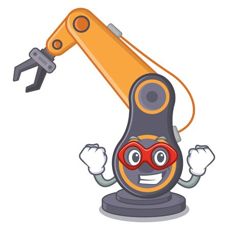 Super hero toy industrial robotic hand the a cartoon vector illustration