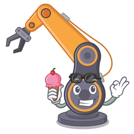 With ice cream toy industrial robotic hand the a cratoon vector illustration