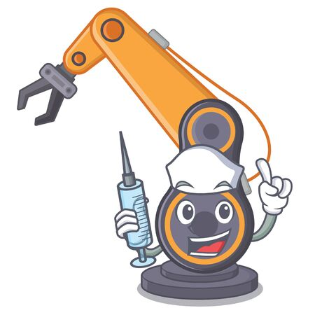 Nurse toy industrial robotic hand the a cartoon vector illustration Illustration