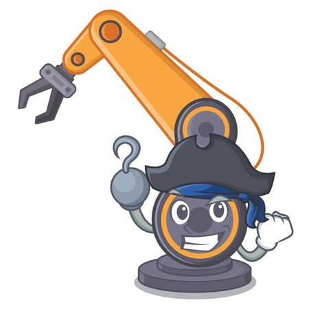Pirate industrial robotic hand on mascot shape vector illustration Illustration