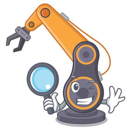 Detektivspielzeug industrielle Roboterhand die eine Cartoon-Vektor-Illustration Vektorgrafik