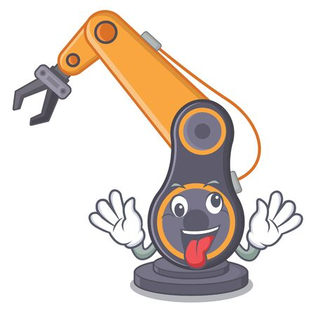 Crazy industrial robotic hand in the cahracter vector illustration