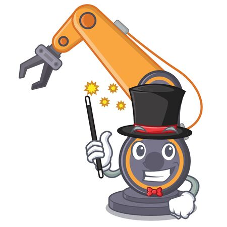 Magician industrial robotic hand in the cahracter vector illustration