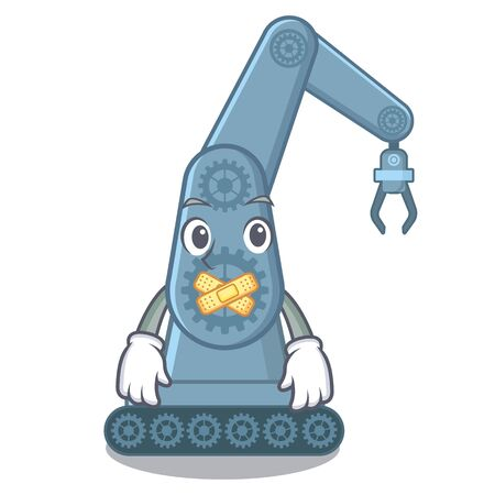 Silent toy mechatronic robot arm cartoon shape vector illustration