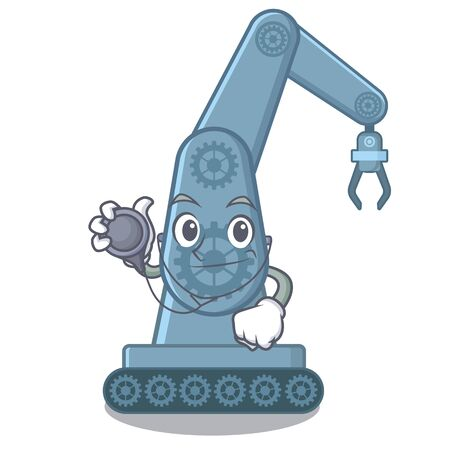 Doctor mechatronic robotic arm isolated on character vector illustration