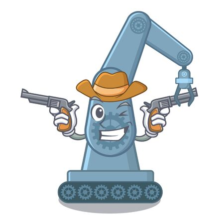Cowboy mechatronic robotic arm isolated on character vector illustration Illustration