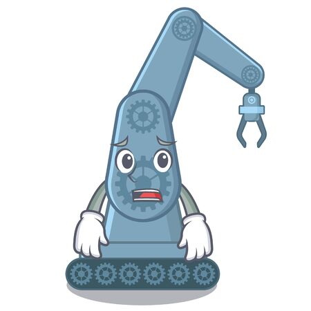 Afraid mechatronic robot arm above cartoon table vector illustration Ilustração