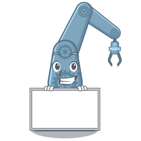 Grinning with board mechatronic robotic arm isolated on character vector illustration