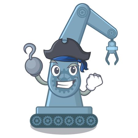 Pirate mechatronic robotic arm isolated on character vector illustration Illustration