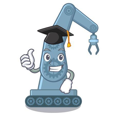 Graduation mechatronic robotic arm in mascot shape vector illustration