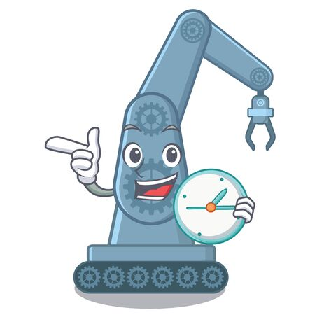 With clock mechatronic robotic arm in mascot shape vector illustration Illustration