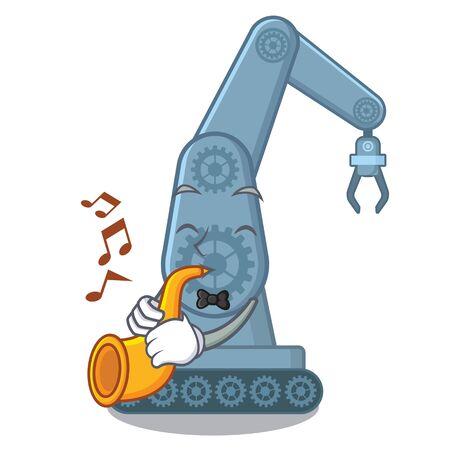 With trumpet mechatronic robot arm above cartoon table vector illustration Ilustração