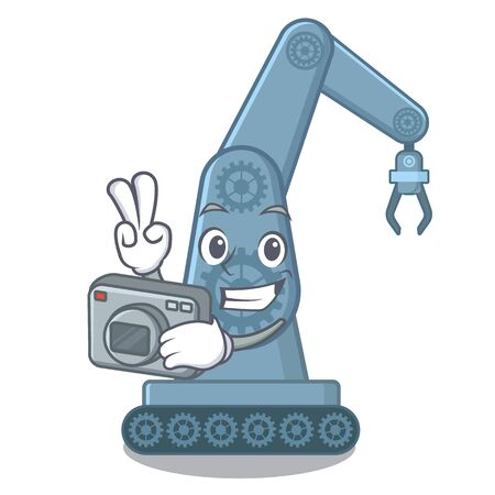 Photographer mechatronic robot arm above cartoon table vector illustration Ilustração