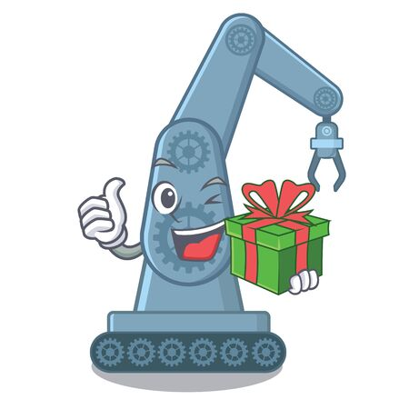 With gift mechatronic robot arm above cartoon table vector illustration Illustration