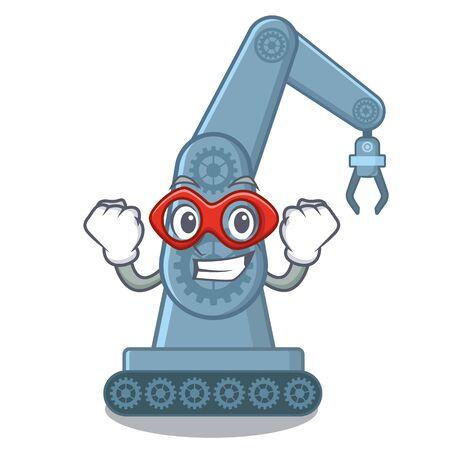 Super hero mechatronic robotic arm in mascot shape vector illustration