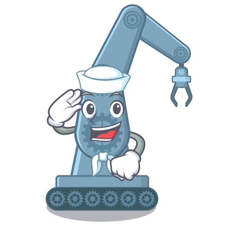 Sailor mechatronic robotic arm isolated on character vector illustration