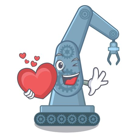 With heart mechatronic robot arm above cartoon table vector illustration