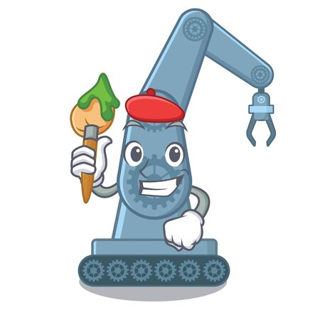 Artist mechatronic robotic arm isolated on character vector illustration