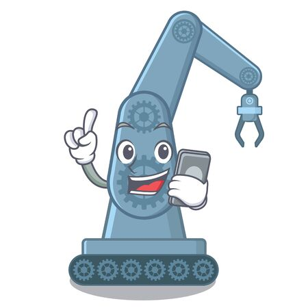 With phone mechatronic robotic arm isolated on character vector illustration