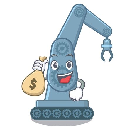 With money bag mechatronic robotic arm isolated on character vector illustration