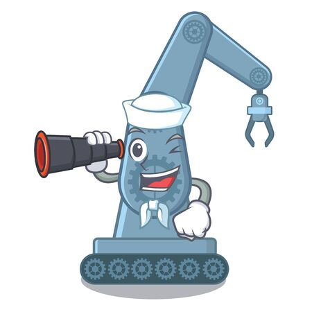 Sailor with binocular mechatronic robot arm above cartoon table vector illustration